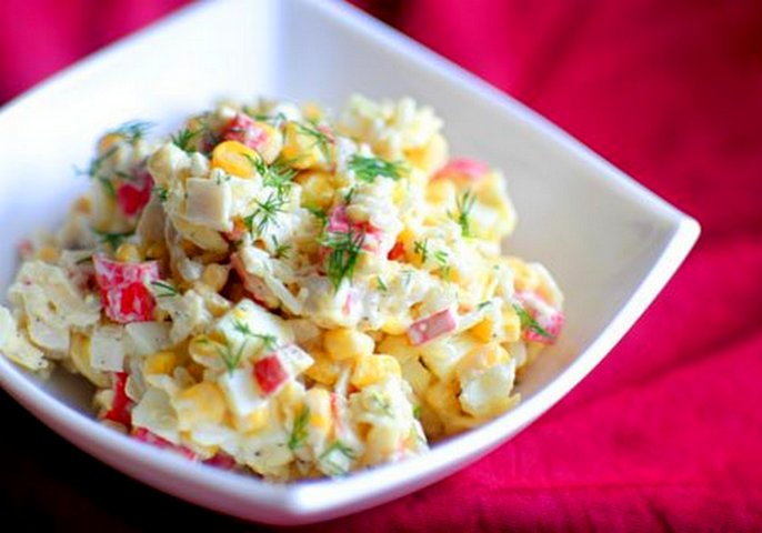 Крабовый салат приготовления и