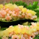 Лодочки из авокадо с креветками